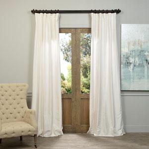 Off White Vintage Textured Faux Dupioni Silk Single Panel Curtain, 50 X 84