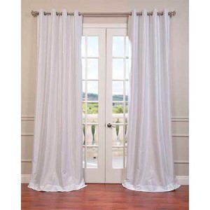 White 84 x 50-Inch Vintage Textured Grommet Blackout Curtain Single Panel