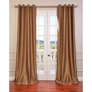 Flax Gold 84 x 50-Inch Vintage Textured Grommet Blackout Curtain Single Panel