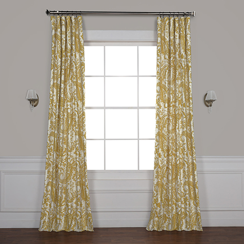 Edina Yellow 84 x 50-Inch Printed Cotton Curtain Single Panel