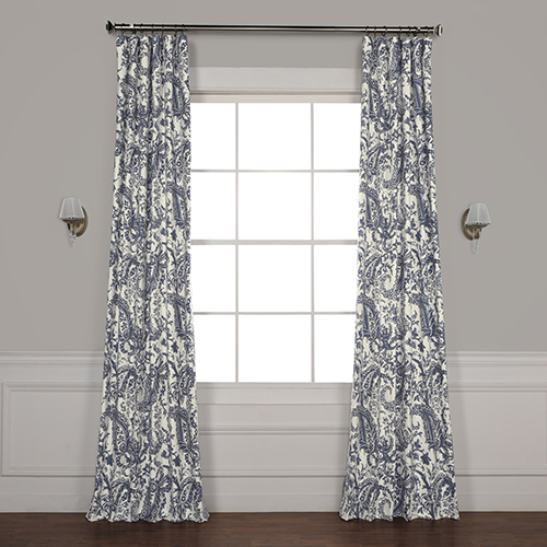 Edina Washed Blue 108 in. x 50 in. Printed Cotton Curtain Panel