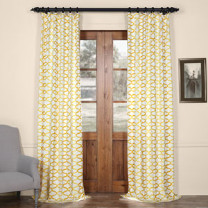 Illusions Yellow 108 in. x 50 in. Printed Cotton Curtain Panel