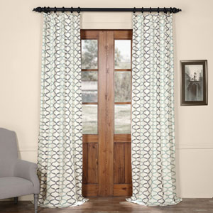 Illusions Blue 120 in. x 50 in. Printed Cotton Curtain Panel