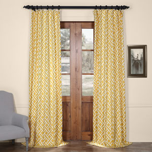 Martinique Yellow 96 in. x 50 in. Printed Cotton Curtain Panel