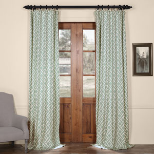 Martinique Blue 96 in. x 50 in. Printed Cotton Curtain Panel