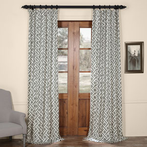 Martinique Grey 108 in. x 50 in. Printed Cotton Curtain Panel