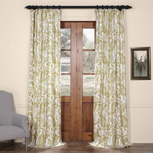 Edina Green 108 in. x 50 in. Printed Cotton Curtain Panel