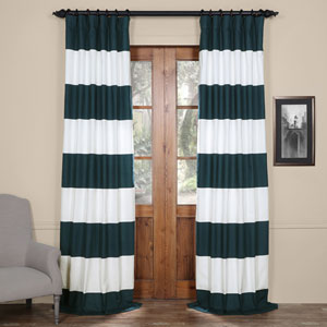 Blue and Off White 50 x 96-Inch Horizontal Stripe Curtain