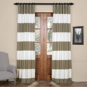 Tan and Off White 50 x 96-Inch Horizontal Stripe Curtain