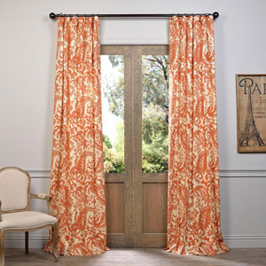 Edina Rust 108 x 50-Inch Printed Cotton Curtain Single Panel