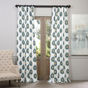 Mayan Teal Printed Cotton Curtain 50 x 84