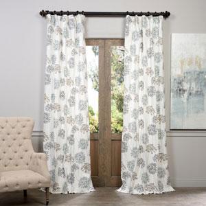Allium Blue Gray Printed Cotton Curtain 50 x 96