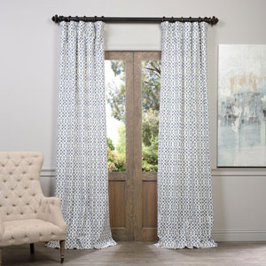 Nairobi Denim Printed Cotton Curtain 50 x 84