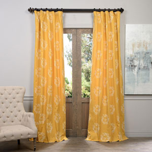 Isles Mustard Printed Cotton Curtain 50 x 96