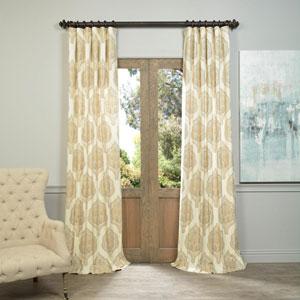 Arabesque Tan 84 x 50-Inch Printed Cotton Twill Curtain Single Panel