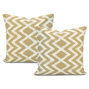 Palu Beige Printed Cotton Cushion Cover, Set of Two