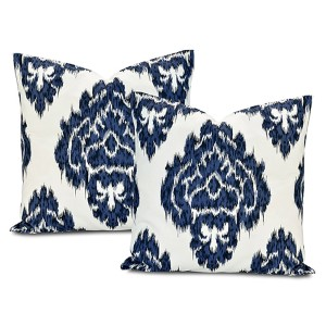 Ikat Blue Printed Cotton Pillow Cover, Set of Two