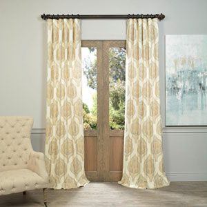 Arabesque Tan 96 x 50-Inch Printed Cotton Twill Curtain Single Panel