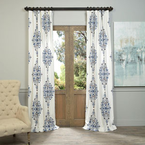 Kerala Blue 84 x 50-Inch Printed Cotton Twill Curtain Single Panel