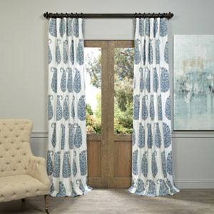 Paisley Park Blue 96 x 50-Inch Printed Cotton Twill Curtain Single Panel