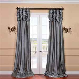 Ruched Platinum 96 x 50-Inch Faux Silk Taffeta Curtain Single Panel