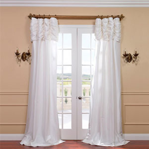 Ruched Eggshell 84 x 50-Inch Faux Silk Taffeta Curtain Single Panel