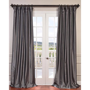 Graphite 96 x 50-Inch Blackout Faux Silk Taffeta Curtain Single Panel