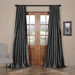 Graphite Faux Silk Taffeta Single Panel Curtain, 50 X 108