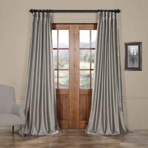 Platinum Faux Silk Taffeta Single Panel Curtain, 50 X 108