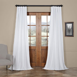Eggshell Faux Silk Taffeta Single Panel Curtain, 50 X 84