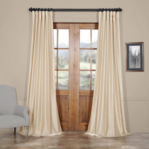 Antique Beige Faux Silk Taffeta Single Panel Curtain, 50 X 96