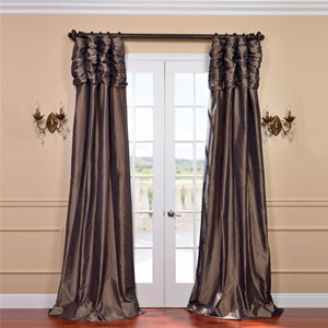 Ruched Mushroom 84 x 50-Inch Faux Silk Taffeta Curtain Single Panel