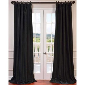 Black 120 x 50-Inch Blackout Faux Silk Taffeta Curtain Single Panel