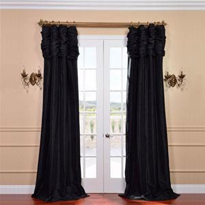 Ruched Jet Black 84 x 50-Inch Faux Silk Taffeta Curtain Single Panel