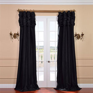 Ruched Jet Black 96 x 50-Inch Faux Silk Taffeta Curtain Single Panel