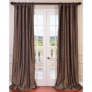 Mushroom Brown 96 x 50-Inch Blackout Faux Silk Taffeta Curtain Single Panel