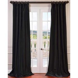 Black 84 x 50-Inch Blackout Faux Silk Taffeta Curtain Single Panel