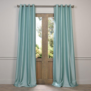 Robins Egg Blue 84 x 50-Inch Grommet Blackout Faux Silk Taffeta Curtain Single Panel