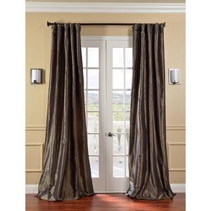 Mushroom Faux Silk Taffeta Single Panel Curtain, 50 X 108