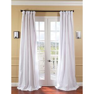 White Faux Silk Taffeta Single Panel Curtain, 50 X 120