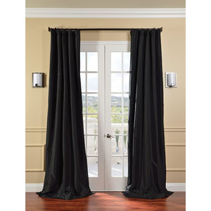 Jet Black Faux Silk Taffeta Single Panel Curtain, 50 X 96