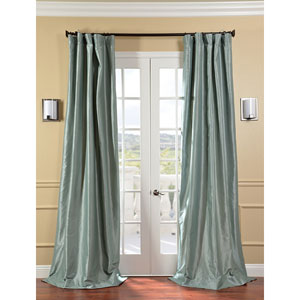 Robins Egg Faux Silk Taffeta Single Panel Curtain, 50 X 96