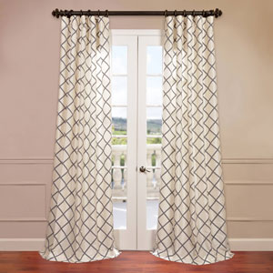 Pavillion Ivory 50 x 120-Inch Flocked Curtain