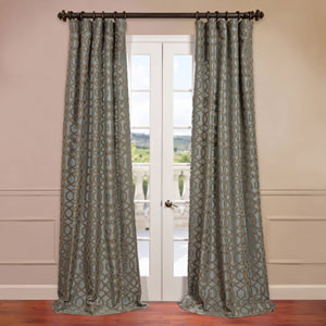 Filigree Blue 50 x 96-Inch Flocked Curtain