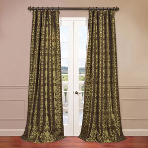 Firenze Green 50 x 96-Inch Flocked Curtain