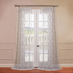 Florentina White 50 x 120-Inch Embroidered Sheer Curtain