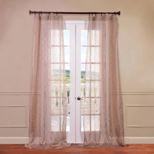 Zara Taupe 50 x 96-Inch Patterned Sheer Curtain