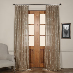 Grecian Taupe Printed 50 x 96-Inch Sheer Curtain