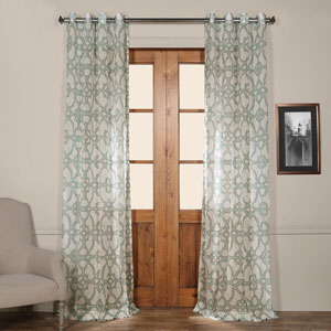 Sea Glass Blue Grommet Printed 50 x 96-Inch Sheer Curtain