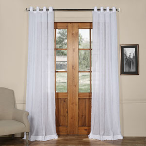 Aspen White Grommet Solid Faux Linen 50 x 120-Inch Sheer Curtain